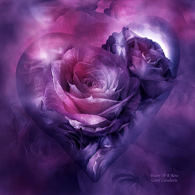 Mixed Media - Heart Of A Rose - Burgundy Purple by Carol Cavalaris
