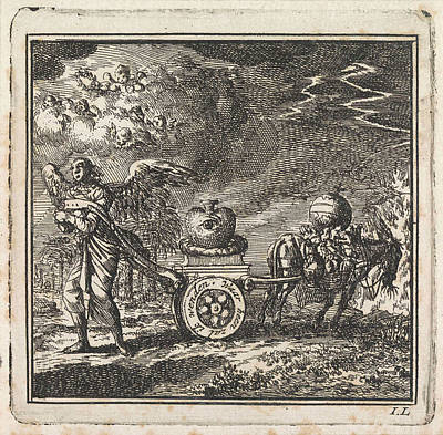 Thunder Drawing - Heart On A Chariot Pulled In Opposite Directions By An by Jan Luyken And Wed. Pieter Arentsz & Cornelis Van Der Sys (ii)