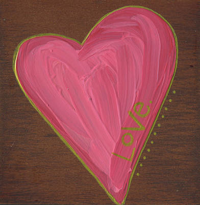 Heart Illustration Painting - Heart On Wood by Alli Rogosich