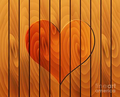 Heart On Wooden Texture Print by Michal Boubin