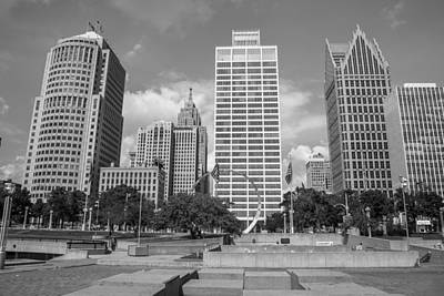 Photograph - Heart Plaza In Detroit In Black And White  by John McGraw