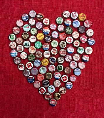 Bottle Caps Mixed Media - Heart Pop by Carol Neal