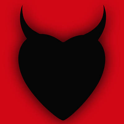 Painting - Heart Series Love Black Devil Horns by Tony Rubino