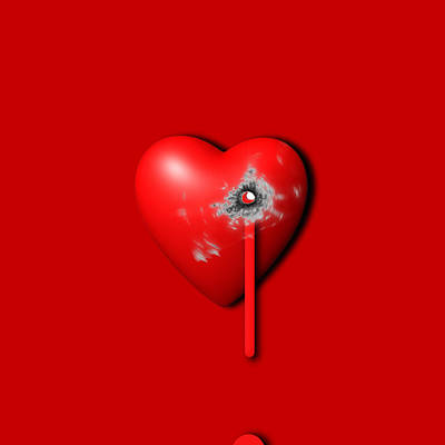Painting - Heart Series Love Bullet Holes by Tony Rubino