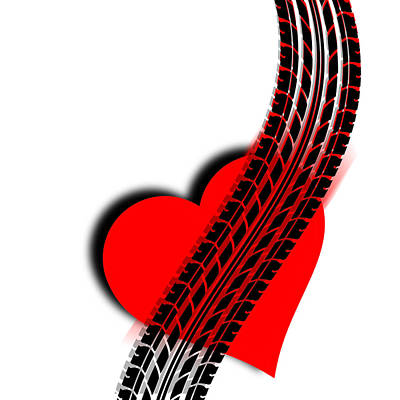 Painting - Heart Series Love One Tire Track by Tony Rubino