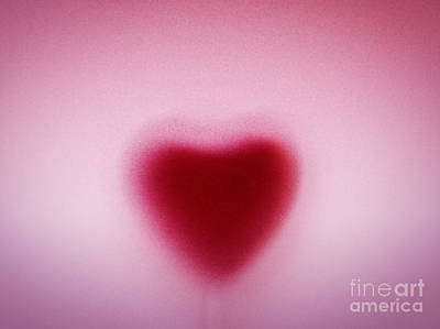 Icon Photograph - Heart Shape Behind Milky Frosted Glass by Michal Bednarek