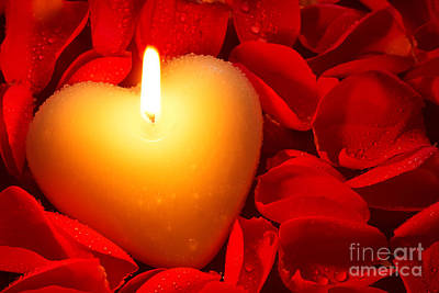 Burning Heart Wall Art - Photograph - Heart Shape Candle And Rose Petals by Richard Thomas