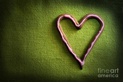 Backgrounds Photograph - Heart Shape Candy On Green by Michal Bednarek