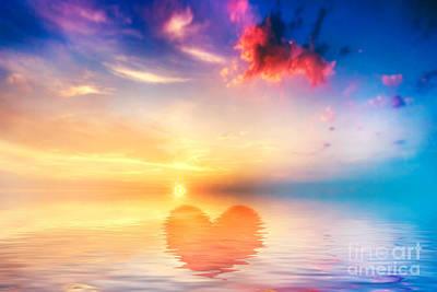 Sign Photograph - Heart Shape In Calm Ocean At Sunset by Michal Bednarek