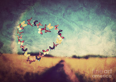 Creative Photograph - Heart Shape Made Of Colorful Butterflies On Vintage Field by Michal Bednarek