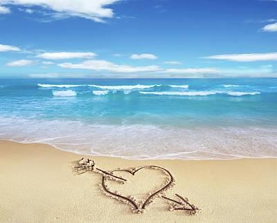 Heart Shape On Sandy Beach Art Print