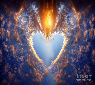 Forever Photograph - Heart Shape On Sunset Sky by Michal Bednarek