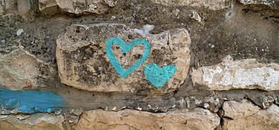 Heart Shape Painted On A Wall, Safed Art Print
