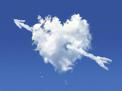Heart Shaped Cloud Against A Blue Sky Art Print