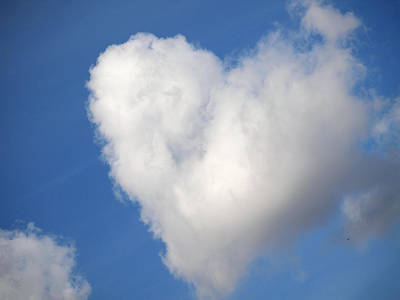 Wedding Favors Photograph - Heart Shaped Cloud In The Blue Sky by Jessica Foster