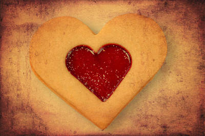 Love Photograph - Heart Shaped Cookie With Texture by Matthias Hauser