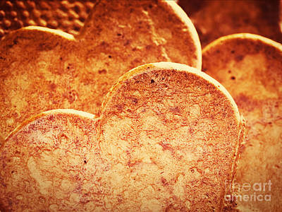 Snack Photograph - Heart Shaped Gingerbread Cookies by Michal Bednarek