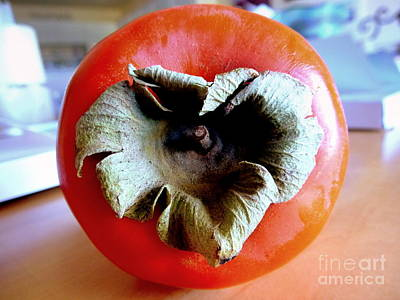 Photograph - Heart Shaped Persimmon by Marlene Rose Besso