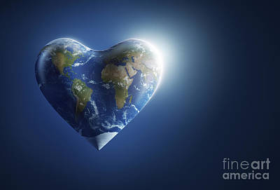 Digital Art - Heart-shaped Planet Earth On A Dark by Evgeny Kuklev