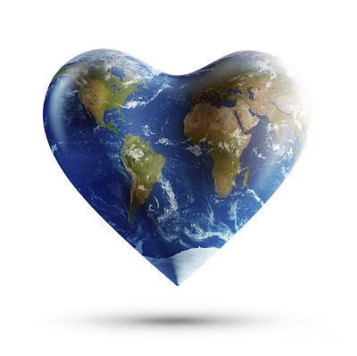 Heart-shaped Planet Earth On A White Art Print by Evgeny Kuklev