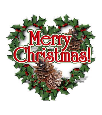 Pine Cones Digital Art - Heart Shaped Wreath - Merry Christmas  by Gravityx9  Designs