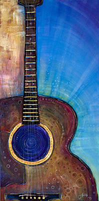 Acoustic Guitar Painting - Heart Song by Tanielle Childers