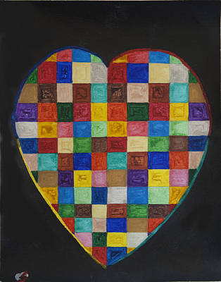 Abstract Patterns Painting - Patchwork Heart  by Stormm Bradshaw
