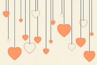 Peach-colored Digital Art - Heart Strings In Peach by Chastity Hoff
