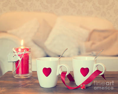 Table Setting Photograph - Heart Teacups by Amanda Elwell
