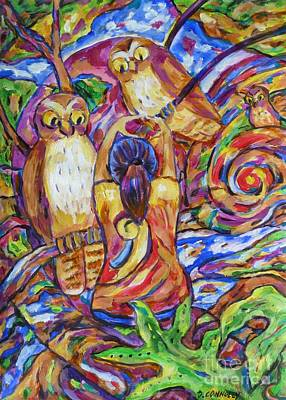 Painting - Heart To Heart With Morepork by Dianne  Connolly