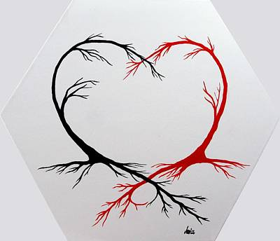 Contemporary Symbolism Painting - Heart Trees - Arteries Of Love by Marianna Mills