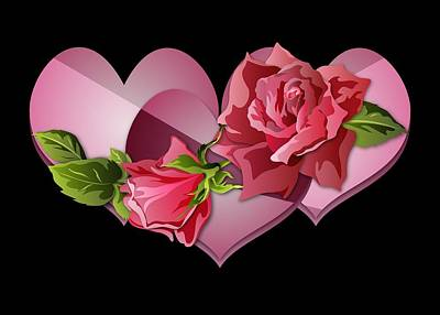Digital Art - Heart Trio With Roses by MM Anderson