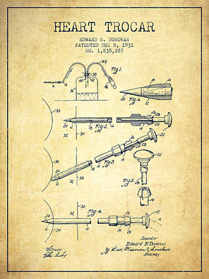 Hearts Digital Art - Heart Trocar Patent From 1931 - Vintage by Aged Pixel