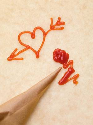 Pastry Bag Photograph - Heart With Arrow, Piping Bag And Ketchup by Eising Studio - Food Photo and Video