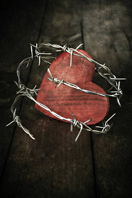 Barbwire Photograph - Heart With Barbed Wire by Joana Kruse