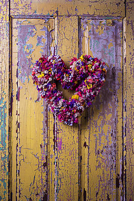 Peeling Painted Wood Wall Art - Photograph - Heart Wreath On Yellow Door by Garry Gay