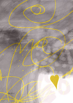 Painting - Heart Yellow And Gray by Ann Powell
