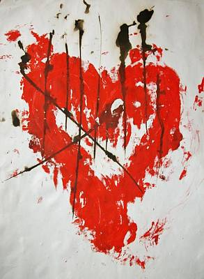 Red Painting - Heart Flash by Anton Bernard