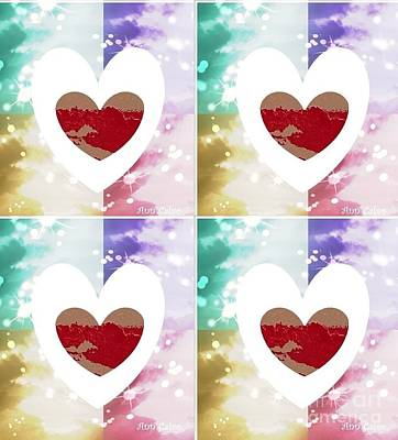 Art Print featuring the digital art Heartful by Ann Calvo