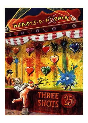 Amusement Park Drawing - Hearts-a-poppin' by Justin Gree