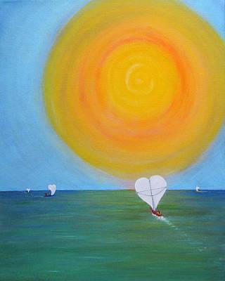 Hearts A-sail On A Hopeful Sea Original by Eileen Lighthawk