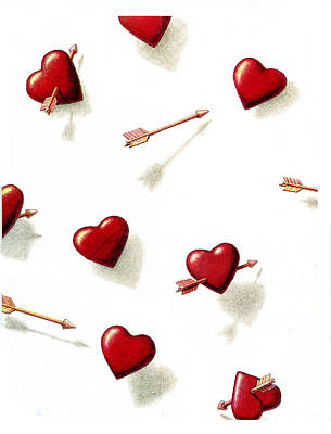 Drawing - Hearts And Arrows by Dan Nelson