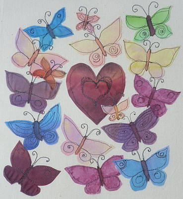 Hearts And Butterflies Art Print