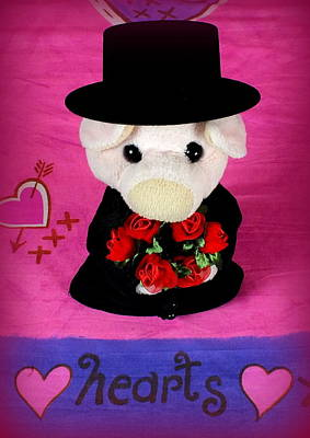 Pig Photograph - Hearts And Flowers by Piggy