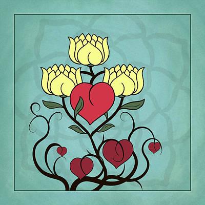 Digital Art - Hearts And Lotus Blossoms by Deborah Smith