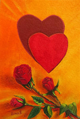 Hearts And Roses Say Love Original by Zina Stromberg