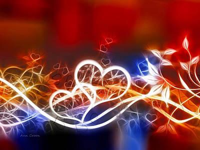 Croon Digital Art - Hearts by Ann Croon