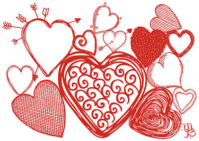 Digital Art - Hearts Collage by Mindy Bench