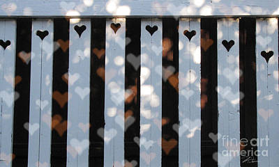 Mixed Media - Hearts Fence by Shari Warren