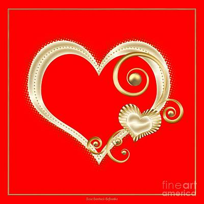 Digital Art - Hearts In Gold And Ivory On Red by Rose Santuci-Sofranko